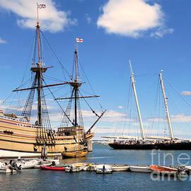America Sailing Past Mayflower II