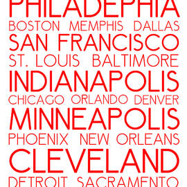 Adam Asar - American Cities in Bus Roll Destination Map Style Poster - White-Red