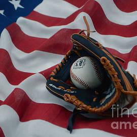 Luv Photography - American Flag And Baseball ball