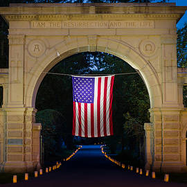 Kirkodd Photography Of New England - American Flag at Cemetery Gates - Mystic CT