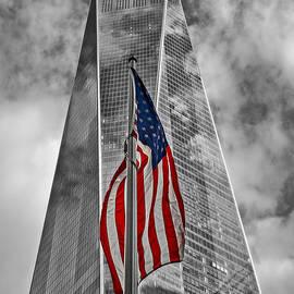 Susan Candelario - American Flag At World Trade Center WTC BW