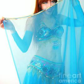 Ameynra belly dance. Sky-blue veil