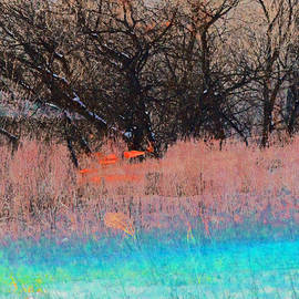 Gretchen Wrede - Aqua Blue into Peach into Winter Brown Seasons Slipping