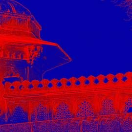 Sue Jacobi - Architecture Detail Blue and Red City Palace Udaipur Rajasthan India 1a