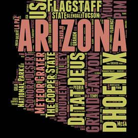 Arizona Word Cloud Map 1 - Naxart Studio
