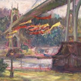 Quin Sweetman - Artful Activism, St Johns Bridge, Original Contemporary Impressionist Oil Painting