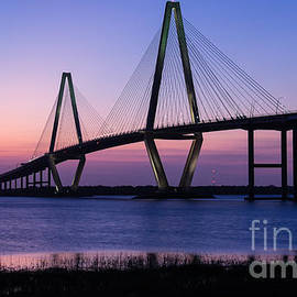 Dawna  Moore Photography - Arthur Ravenel Jr. Bridge at Sunset Charleston South Carolina