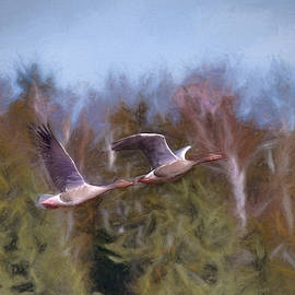 Leif Sohlman - Artistic painterly geese flight 2