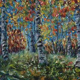 OLena Art - Aspen Grove Palette Knife Painting