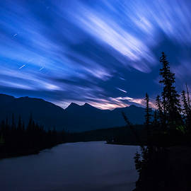 Cale Best - Athabasca River Moonrise Long Exposure
