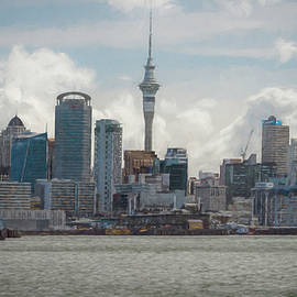 Joan Carroll - Auckland New Zealand Skyline Painterly