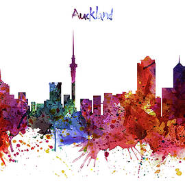 Auckland Watercolor Skyline - Marian Voicu