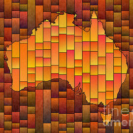 Eleven Corners - Australia Map Glasa in Orange