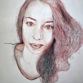 Maja Sokolowska - Autoportrait with pencils and charcoal