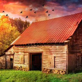Debra and Dave Vanderlaan - Autumn Barn at Sunset