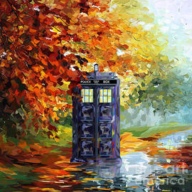 three Second - Autumn blue phone box Digital Art