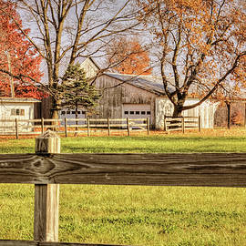William Sturgell - Autumn Farm Behind a Wooden Fence