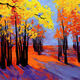 Patricia Awapara - Autumnal Landscape Painting, Forest Trees at Sunset