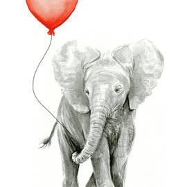 Baby Elephant Watercolor Red Balloon - Olga Shvartsur