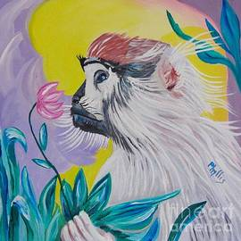 Phyllis Kaltenbach - Baby Patas Monkey and His Flower