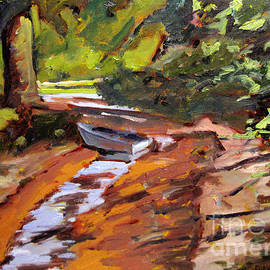 Charlie Spear - Back Water Fishing framed plein air