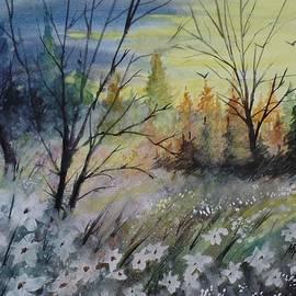 David K Myers - Backyard View, Watercolor Painting