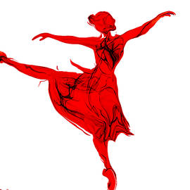 Abstract Angel Artist Stephen K - Balletic Beauty in Red and White