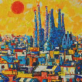 Ana Maria Edulescu - Barcelona Abstract Cityscape Triptych Gaudi