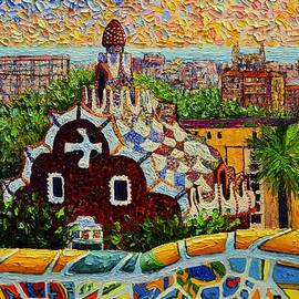 Ana Maria Edulescu - Barcelona View From Guell Park - Palette Knife Oil Painting By Ana Maria Edulescu - Left Panel