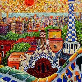 Ana Maria Edulescu - Barcelona View From Guell Park - Palette Knife Oil Painting By Ana Maria Edulescu - Right Panel