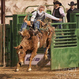 Priscilla Burgers - Bareback Riding at the Wickenburg Senior Pro Rodeo