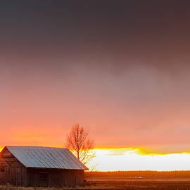 Jukka Heinovirta - Barn And A Birch Tree Against The Dramatic Sunset