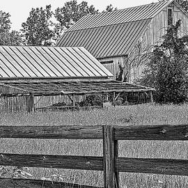 William Sturgell - Barn with Fence Black and White