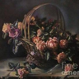 Farideh Haghshenas - Basket of Roses in Dark