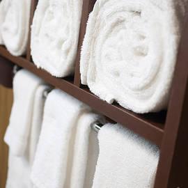 Bathroom Towel Rack with Rolled Towels - Paul Velgos