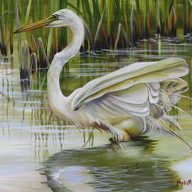 Phyllis Beiser - Bayou Caddy Great Egret