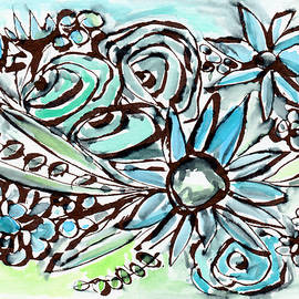 Beach Glass Flowers 1- Art by Linda Woods - Linda Woods