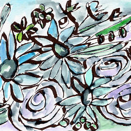 Beach Glass Flowers 2- Art by Linda Woods - Linda Woods
