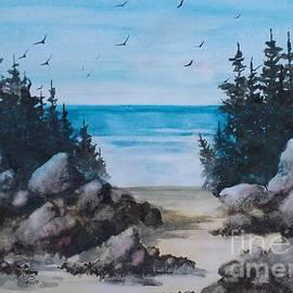 David K Myers - Beach Rocks, Gouache Painting