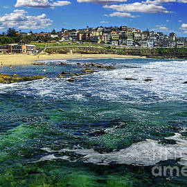 Kaye Menner - Beach Scene and Overlooking Houses by Kaye Menner