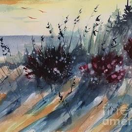David K Myers - Ludington Beach Walk, Watercolor Painting