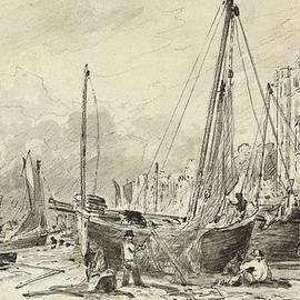 Beached fishing boats with fishermen mending nets on the beach at Brighton, looking West - John Constable