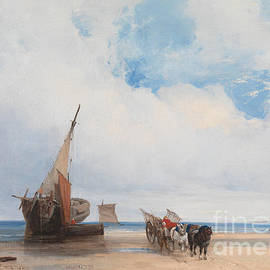 Richard Parkes Bonington - Beached Vessels and a Wagon