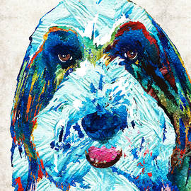 Sharon Cummings - Bearded Collie Art - Dog Portrait by Sharon Cummings