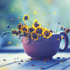 Ashraful Arefin - Beautiful Little Yellow Flower In A Cup With Falling Petals