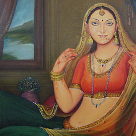 M B Sharma - Beautiful Rajasthani Priness Gorgeous Looking Indian Traditional Canvas Oil Painting