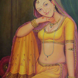 B K Mitra - Beautiful Rajasthani Queen Sitting Portrait Indian Traditional Canvas Oil Painting