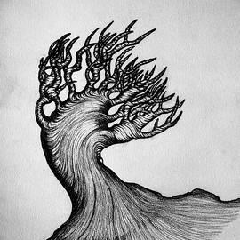 Rune Larsen - Beautiful Tree Nature Original Black And White Pen Art By Rune Larsen