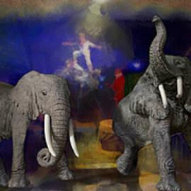 Thomas Woolworth - Big Top Elephants Textured Triptych 3 Panel