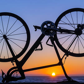 Bike On Sea Wall At Sunset - Garry Gay